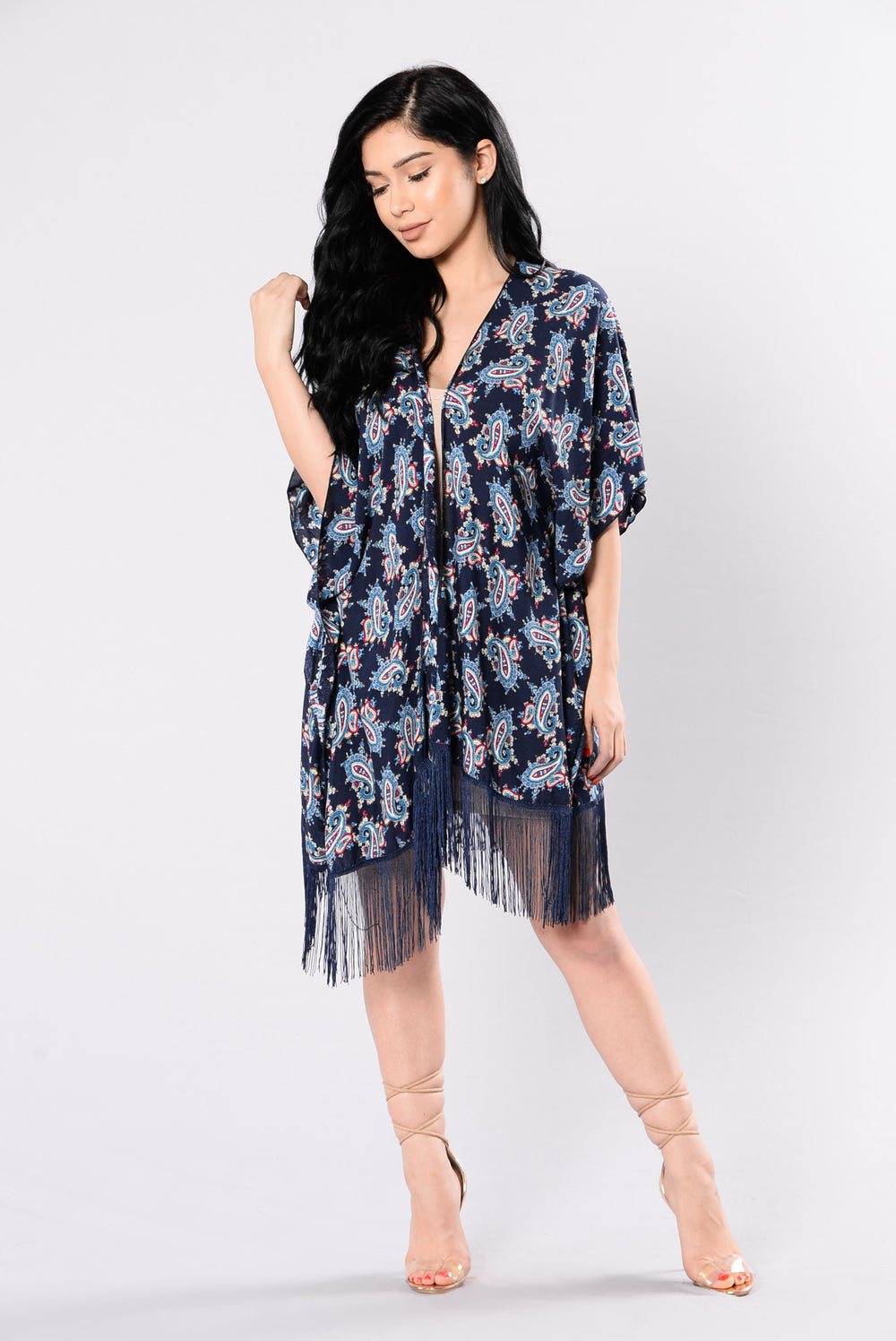 Flowers In Your Hair Kimono - Navy/Black