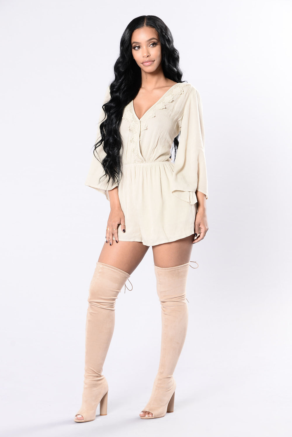 Fighting With Fire Romper - Taupe