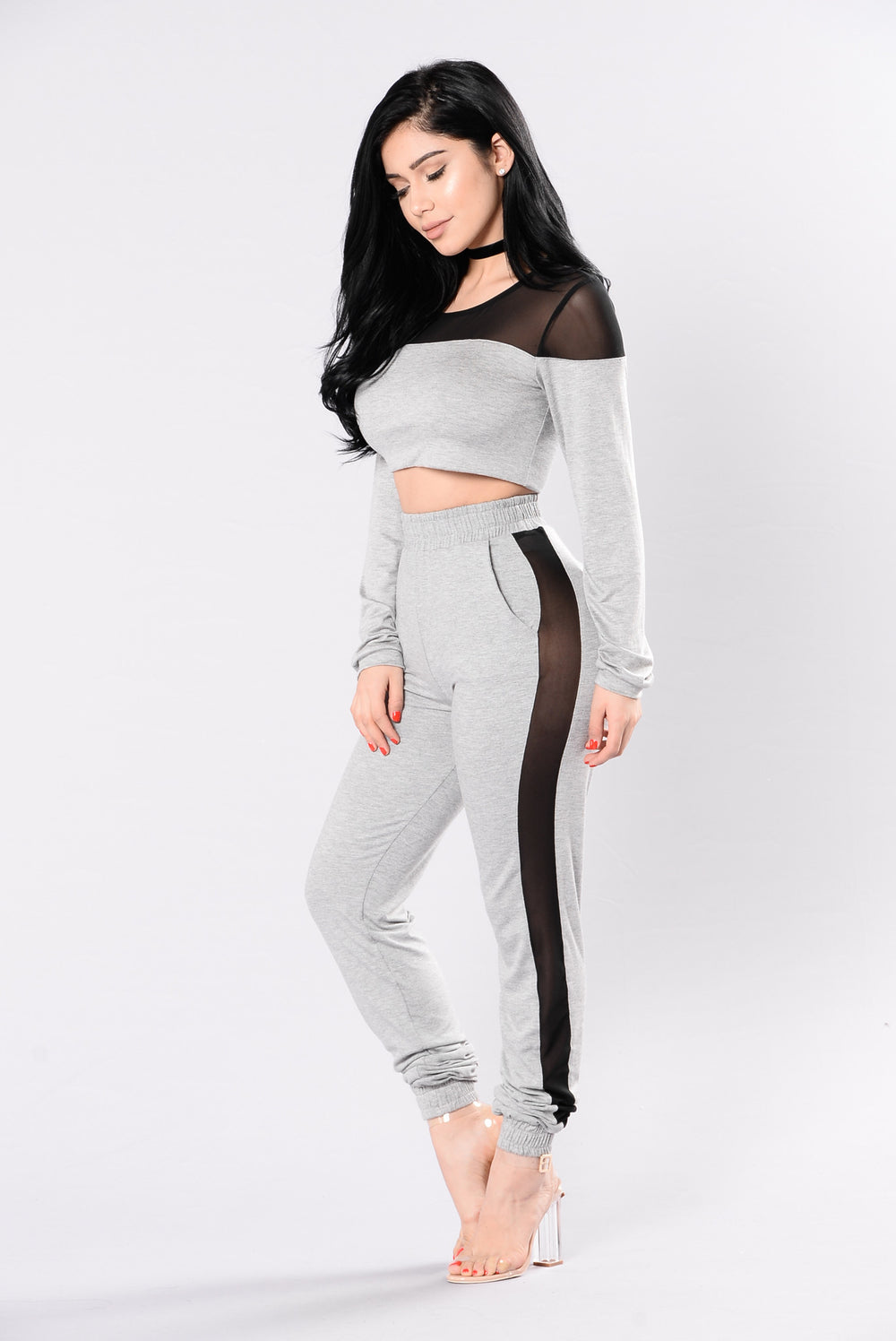 Je T'aime Top - Heather Grey/Black