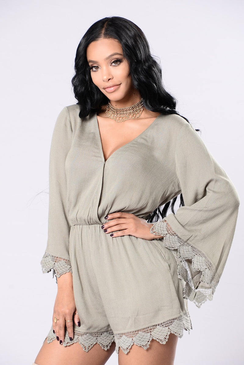 Back In Town Romper - Dusty Sage
