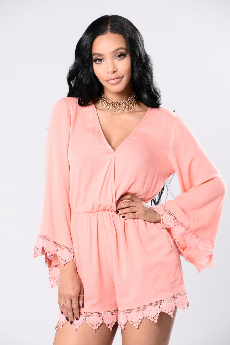 Back In Town Romper - Blush