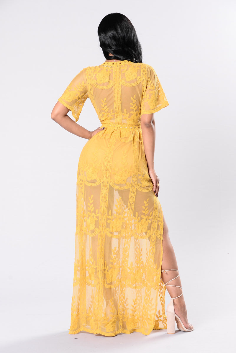 Hello Flower Child Dress - Mustard