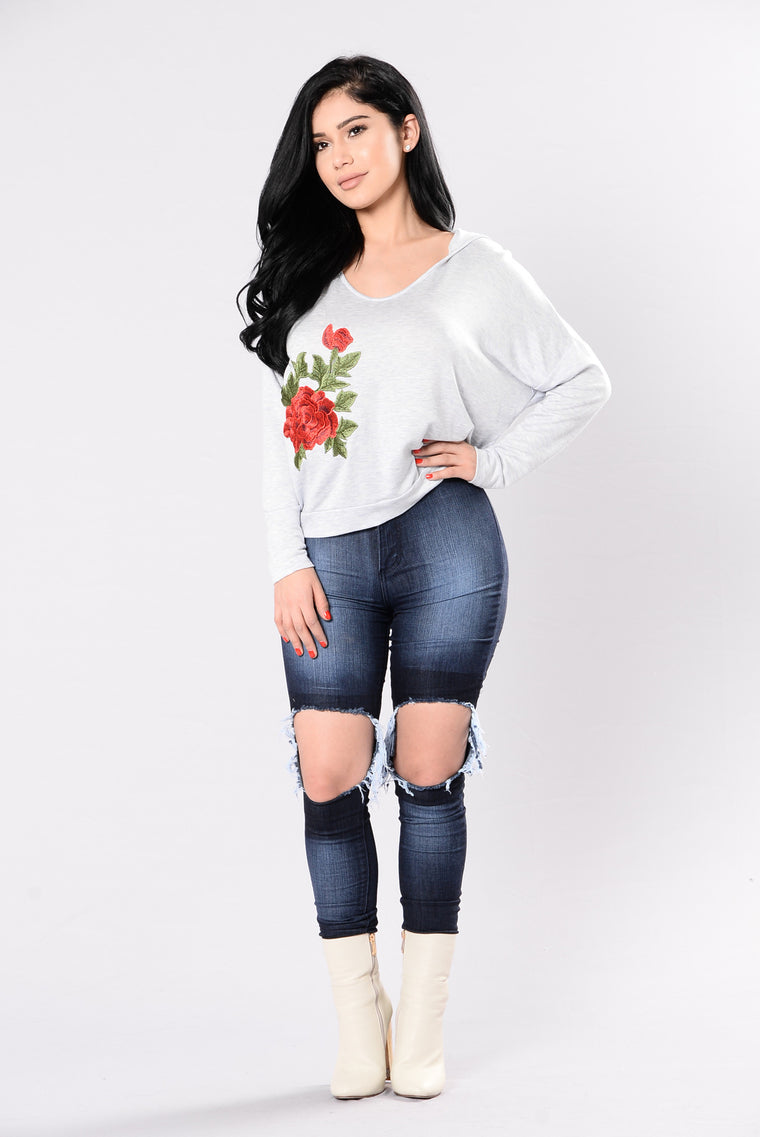 English Rose Top - Heather Grey
