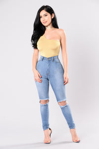 Never Gonna Give You Up Bodysuit - Mustard Angle 4