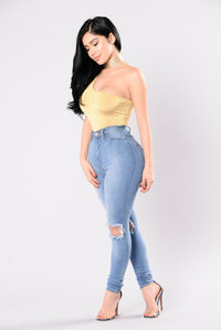 Never Gonna Give You Up Bodysuit - Mustard Angle 6