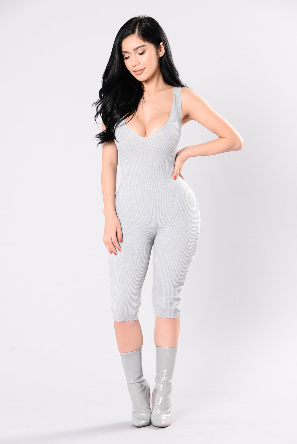 Roll Up Jumpsuit - Heather Grey