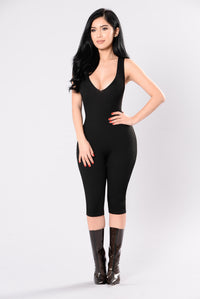 Roll Up Jumpsuit - Black