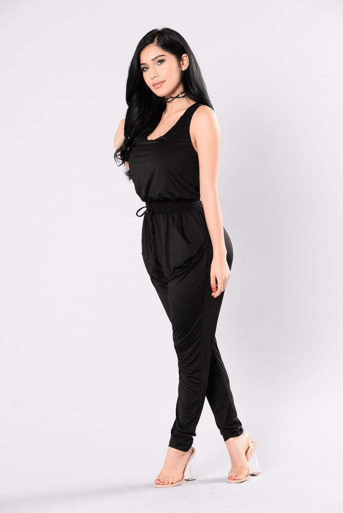 Kiss Up And Rub Up Jumpsuit - Black