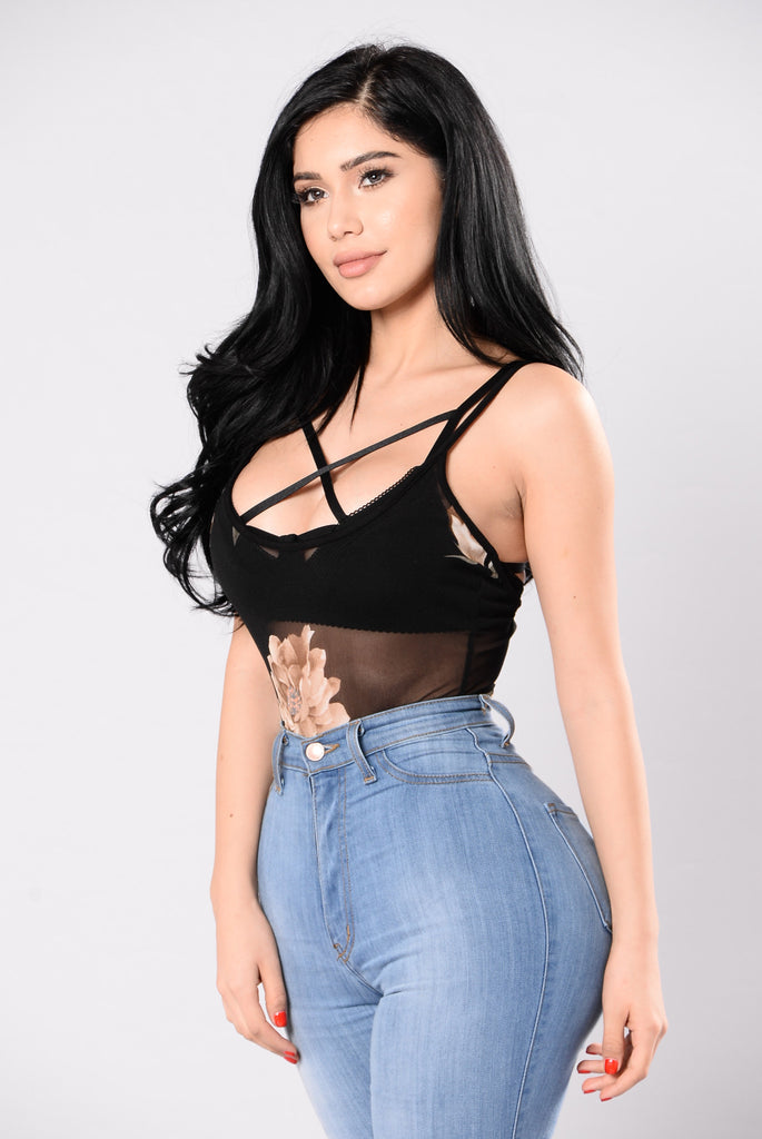 Just Another Rose Bodysuit - Black