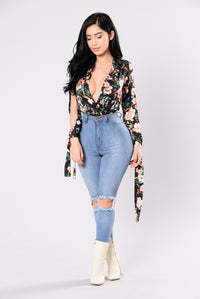 Build Me Up Buttercup Bodysuit - Black Floral