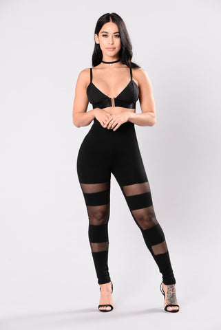 Sexy black sheer leggings high waisted