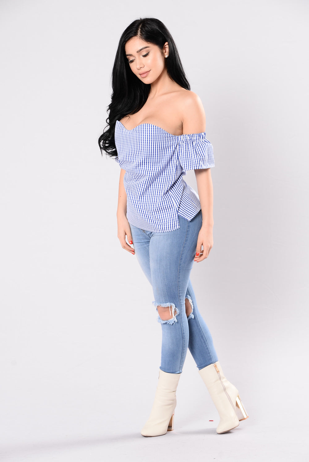 Sure Thing Top - Blue/White