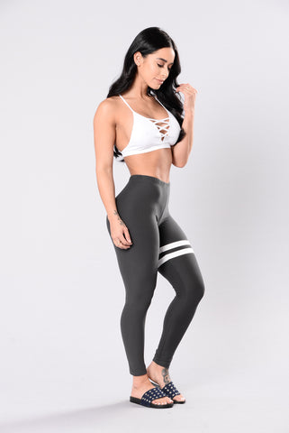 Kissed Your Crimes Leggings - Grey/White