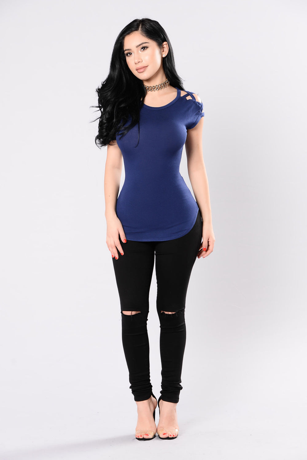 Boundaries Crossed Top - Navy