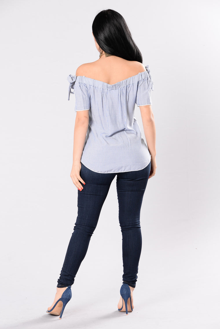 Savannah Rose Top - Blue/White Stripe