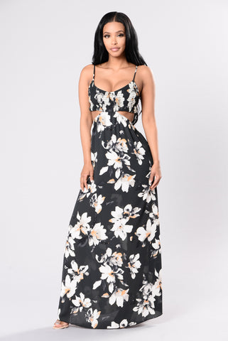 Falling Petals Dress - Grey/Ivy
