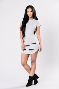 If You Want Me Back Dress - Heather Grey