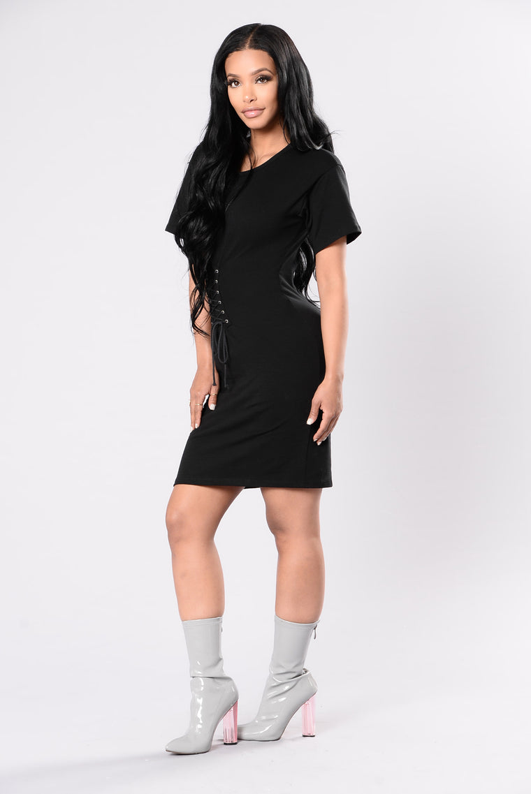 Sneaking Out The Back Door Dress - Black
