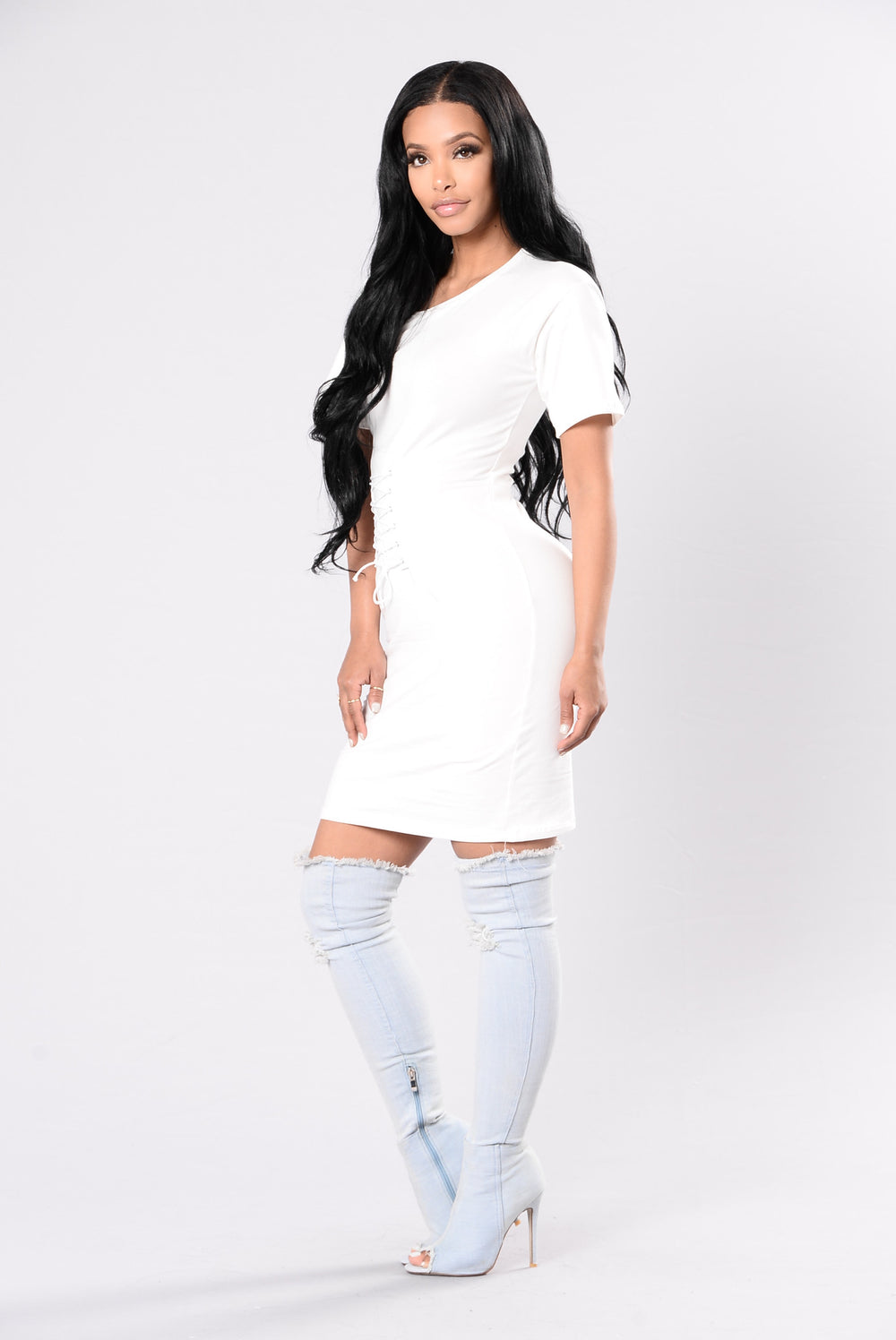 Sneaking Out The Back Door Dress - White