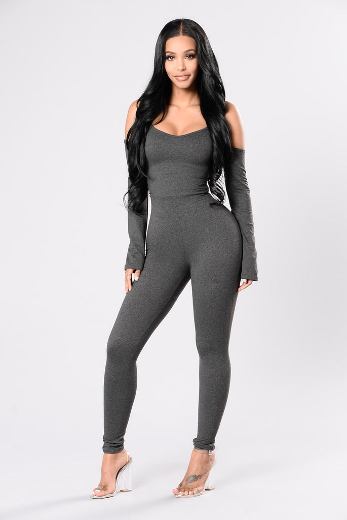Hold My Interest Jumpsuit - Charcoal