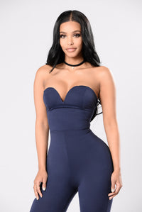 Baby Be Mine Jumpsuit - Navy Angle 2