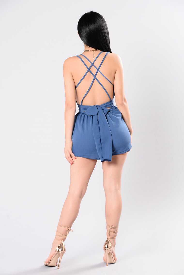 Smiling Back Romper - Denim Blue