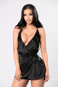 Why Stop Now Romper - Black