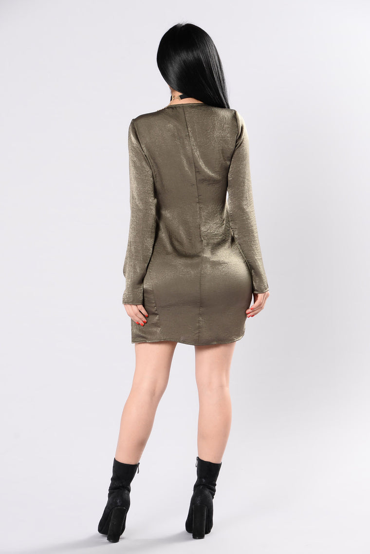 Back In Action Dress - Olive