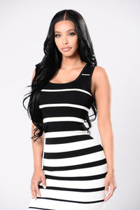 Mime Your Own Business Dress - Black/White