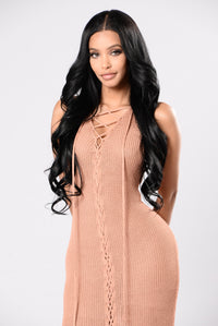 She's Curious Dress - Light Marsala
