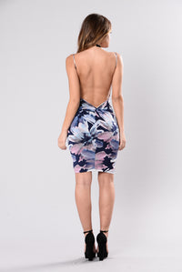 Miss Moving On Dress - Navy Floral
