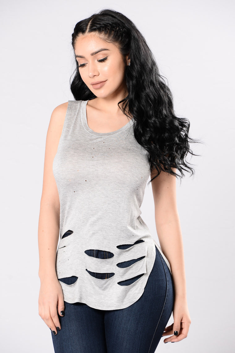Nature Feels Top - Heather Grey