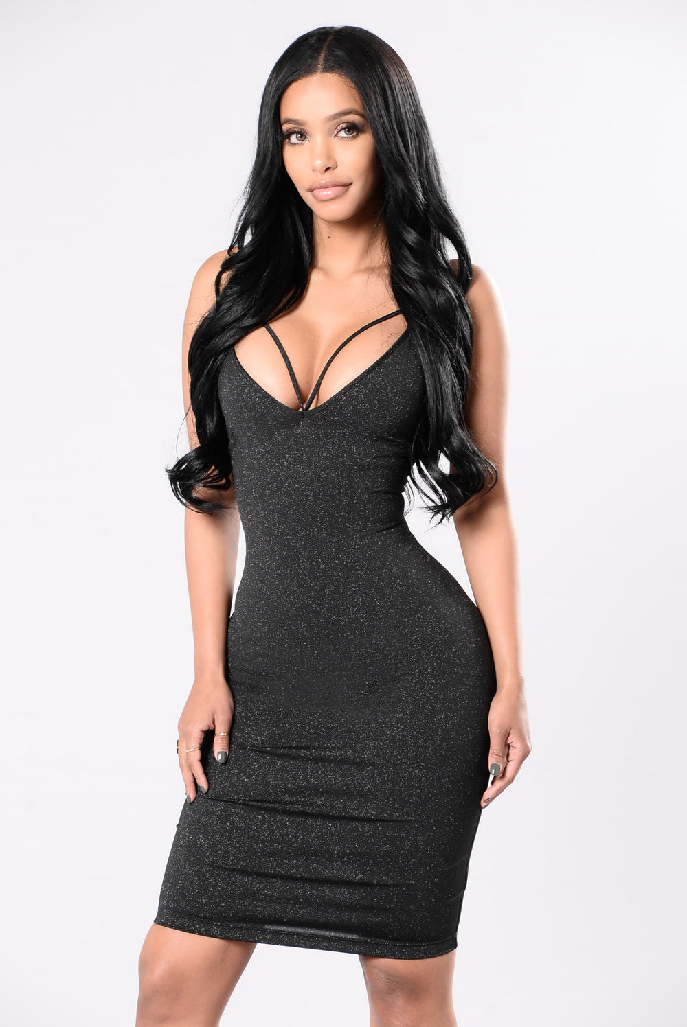 A Little Glitter Dress - Black