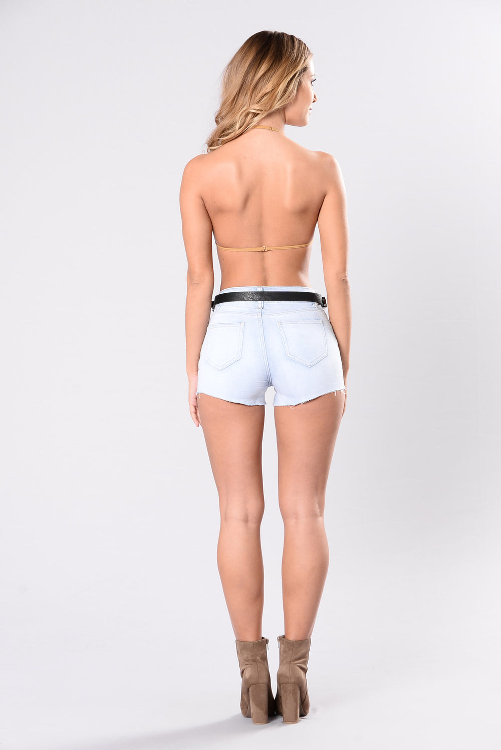 Buckle Down Denim Shorts - Bleach