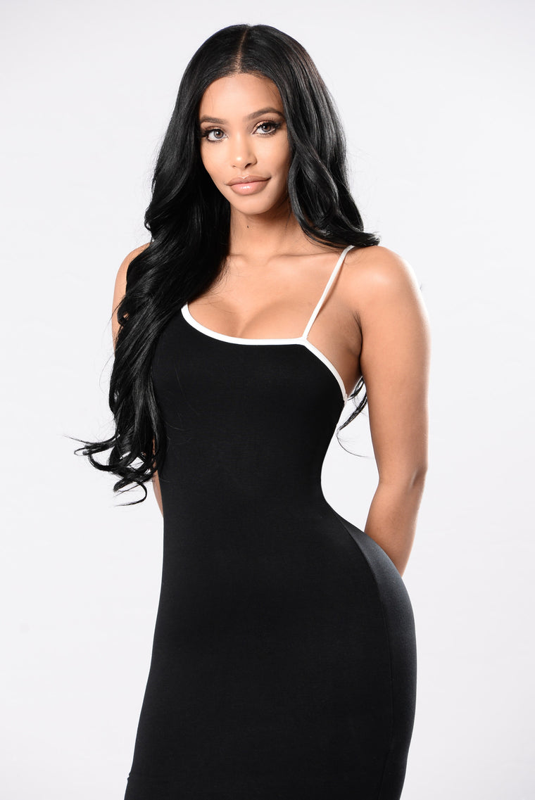 One Step Up Dress - Black/White