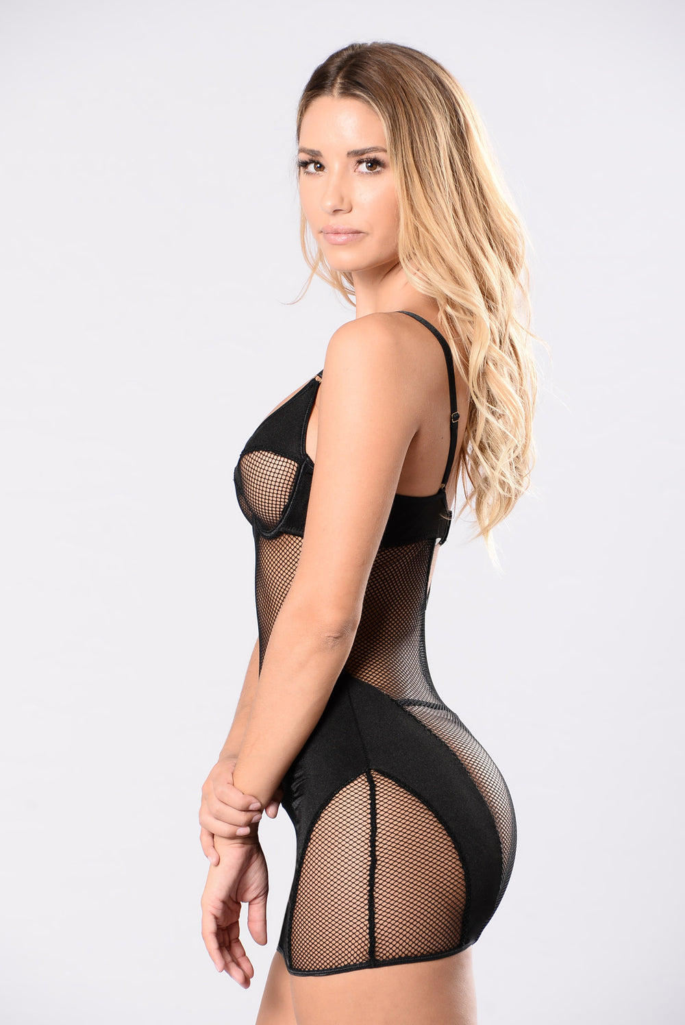 Erotic chemise lingerie set in black sheer