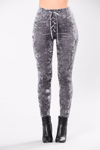 gray wash leggings lace up tight