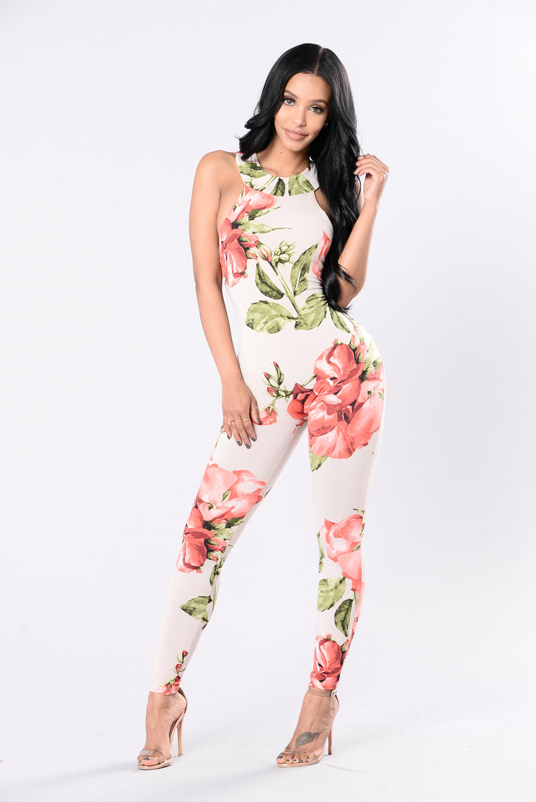 Thank Me Later Jumpsuit - Nude Floral