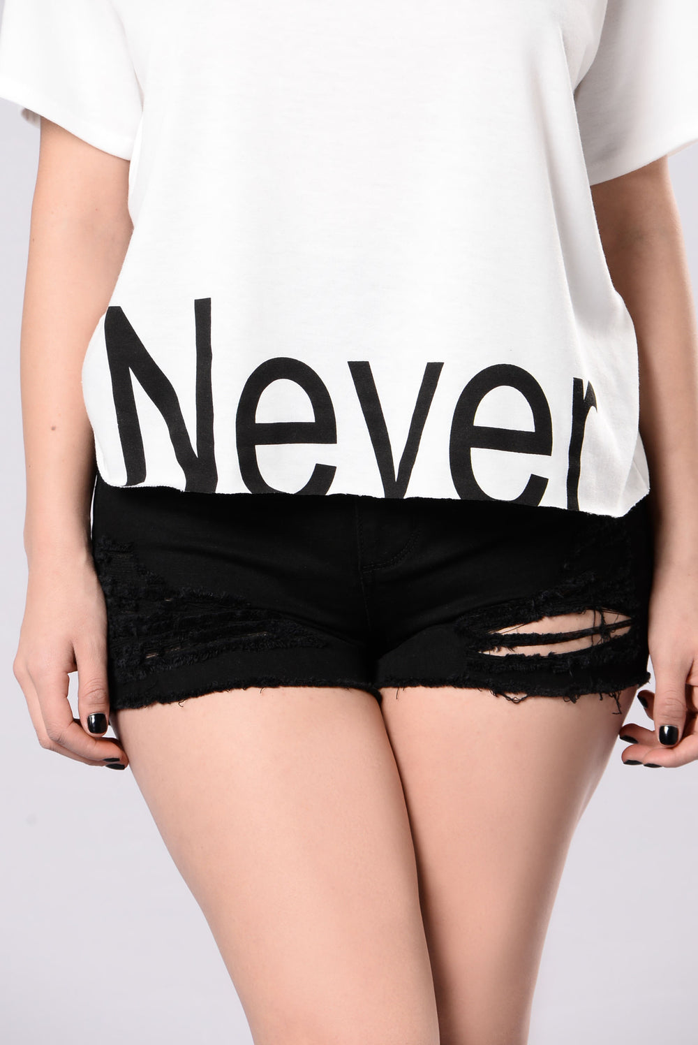 Never Again Tee - Off White/Black