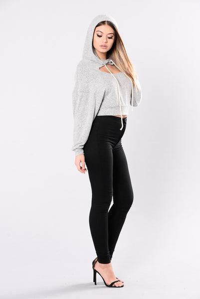 Keep You Cozy With Me Top - Heather Grey