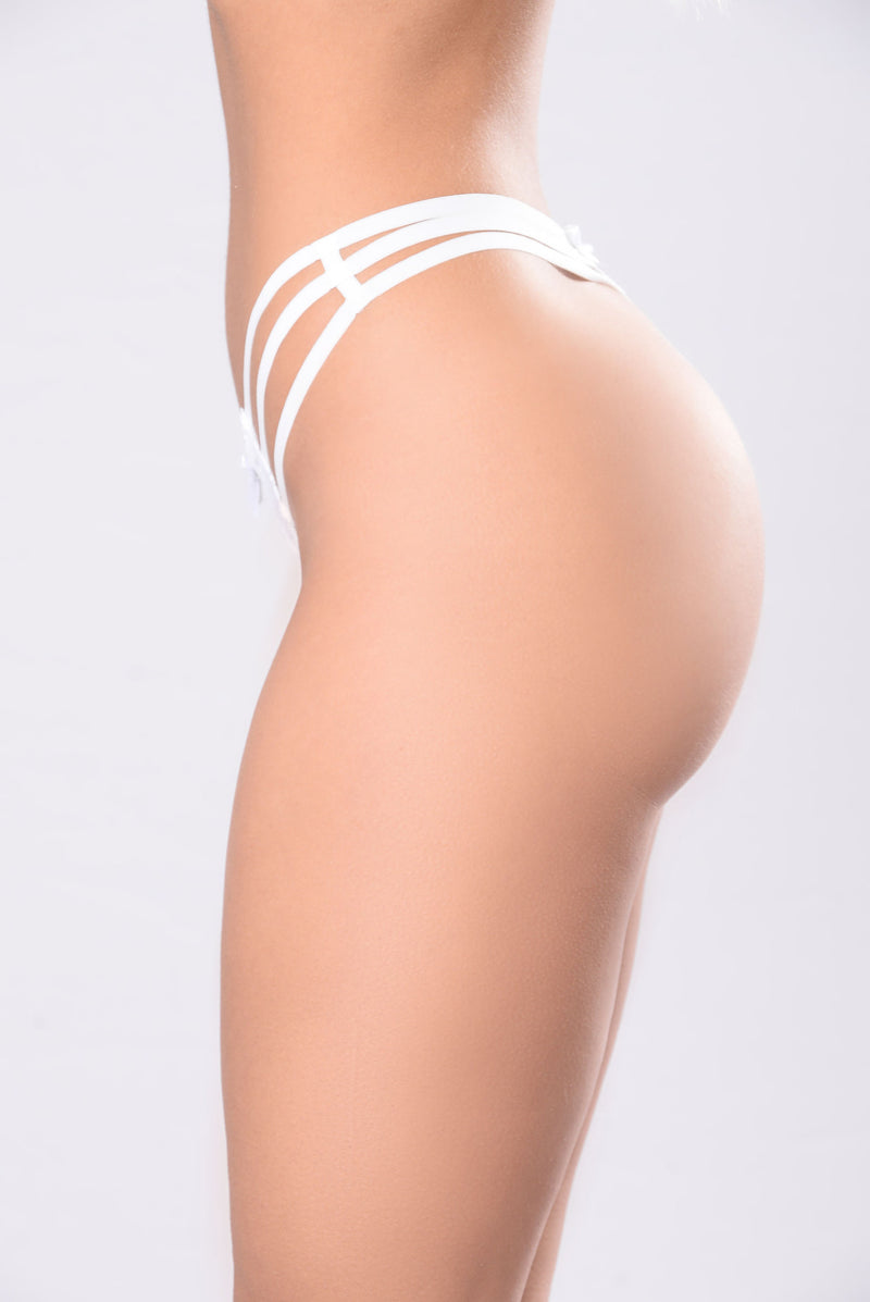 Cage Me Down G String Panty - White