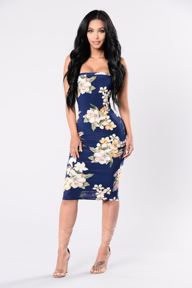 Bring It Over Dress - Navy