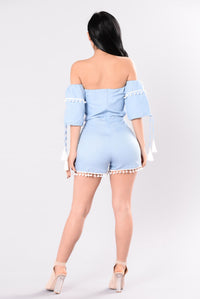 Heard About Me Romper - Light Denim