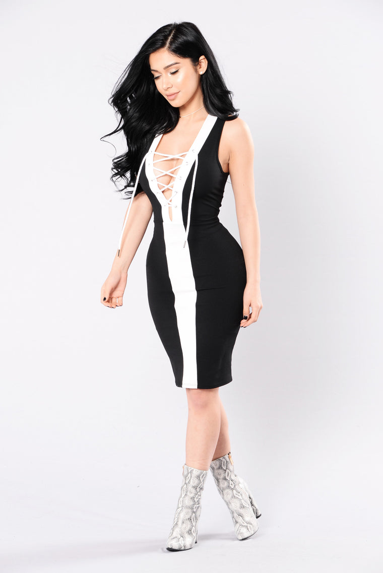 Yeah I Said It Dress - Black/White