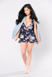 Hearts All Over The World Romper - Navy