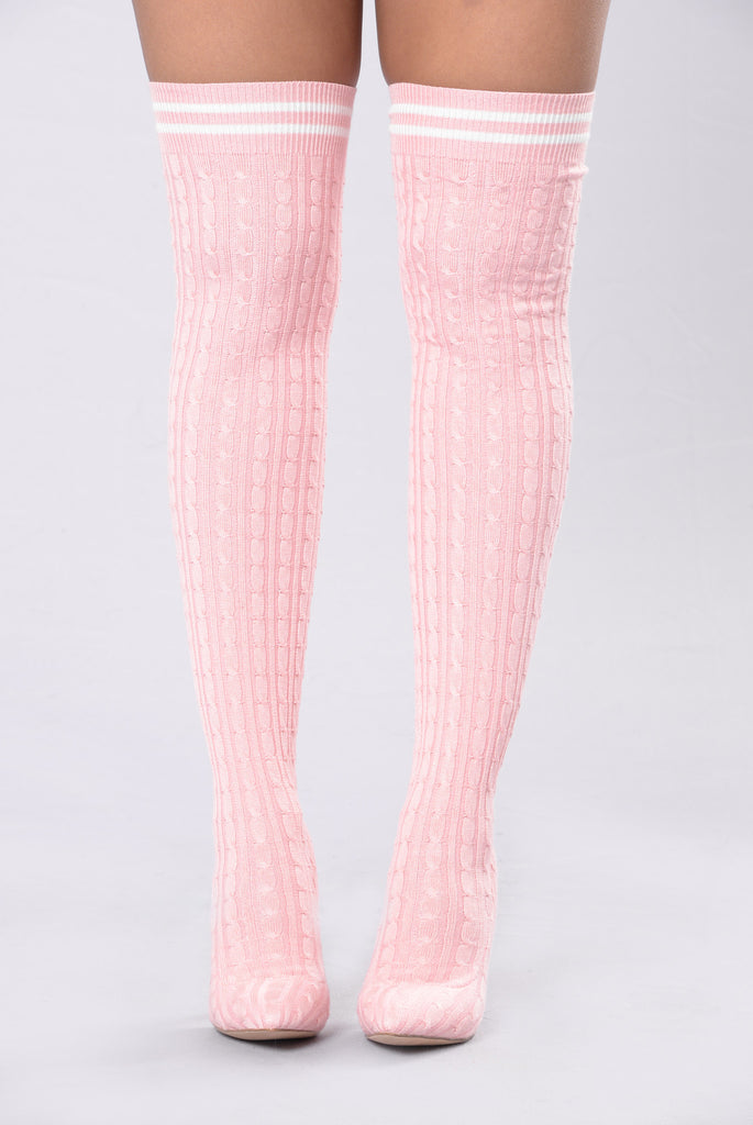 League Of My Own Knit Boot - Pink
