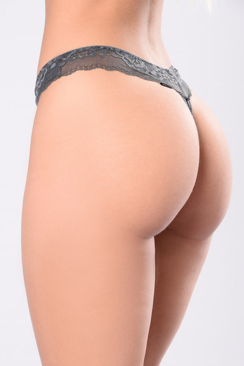 Kiss It There Thong - Grey