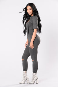 Don't Act Shy Jumpsuit - Charcoal