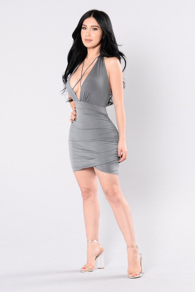 Maybe It's Because Dress - Grey