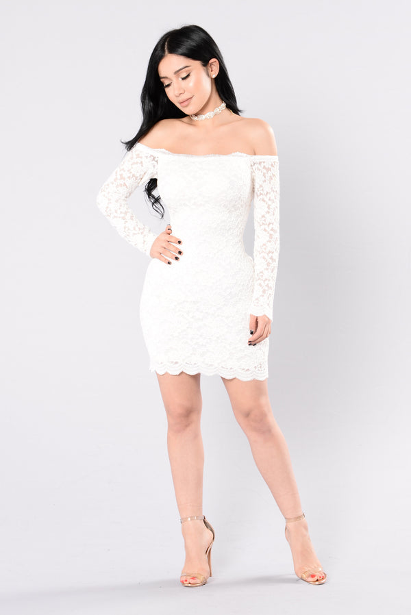 Off Shoulder Lace Bodycon Dress - White 4bb85a9c5